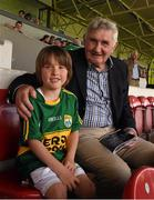 14 June 2015; Kerry supporter Jayden Foley, age 6, from Farranfore, Co. Kerry, with Mick O'Dwyer ahead of the game. Munster GAA Football Senior Championship Semi-Final, Kerry v Tipperary. Semple Stadium, Thurles, Co. Tipperary. Picture credit: Ray McManus / SPORTSFILE