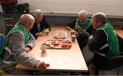 14 June 2015; The former Kerry star player and  manager of Kerry, Kildare, Laois and Wicklow, Mick O'Dwyer, in conversation with 'Maors' Donie Sugrue, Clockjordan and formerly of Ballinskelligs, Michael O'Neill and Michael Cahill, from Kilruane, Co Tipperary, before the game. Munster GAA Football Senior Championship Semi-Final, Kerry v Tipperary. Semple Stadium, Thurles, Co. Tipperary. Picture credit: Ray McManus / SPORTSFILE