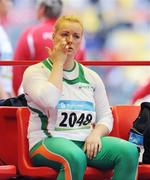 18 August 2008; Eileen O'Keeffe, Ireland, reacts after her first attempt in Group B qualifying in the Women's Hammer. She threw a best of 67.66m but failed to qualify for the final. Beijing 2008 - Games of the XXIX Olympiad, National Stadium, Olympic Green, Beijing, China. Picture credit: Brendan Moran / SPORTSFILE