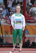18 August 2008; Eileen O'Keeffe, Ireland, urges on her hammer during her third attempt in Group B qualifying in the Women's Hammer. She threw a best of 67.66m but failed to qualify for the final. Beijing 2008 - Games of the XXIX Olympiad, National Stadium, Olympic Green, Beijing, China. Picture credit: Brendan Moran / SPORTSFILE