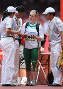 18 August 2008; Eileen O'Keeffe, Ireland, speaking to officials after Group B qualifying in the Women's Hammer. She threw a best of 67.66m but failed to qualify for the final. Beijing 2008 - Games of the XXIX Olympiad, National Stadium, Olympic Green, Beijing, China. Picture credit: Brendan Moran / SPORTSFILE