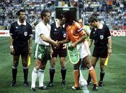 21 June 1990; Republic of Ireland captain Mick McCarthy shakes hands with Netherlands captain Ruud Ruud Gullit ahead of the FIFA World Cup 1990 Group F match between Republic of Ireland and Netherlands at Stadio La Favorita in Palermo, Italy. Photo by Ray McManus/Sportsfile