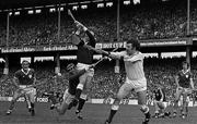 7 September 1980; Galway goalkeeper Michael Connelly blocks the ball out to keep the Limerick attack out, All Ireland Hurling Final, Galway v Limerick, Croke Park, Dublin. Photo by Ray McManus/Sportsfile