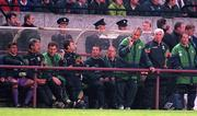 Rep of Ireland manager Mick McCarthy gives the ok signal to his players during the second half against Liechtenstein at Lansdowne Rd. Rep of Ireland (5) v Liechtenstein (0). Soccer. 21/5/97. Photograph: Brendan Moran SPORTSFILE.