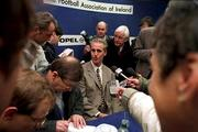 New Republic of Ireland Manager Mick McCarthy being interviewed by Journalists at a Press Conference at Lansdowne Rd. Soccer. Picture credit; Ray McManus/SPORTSFILE