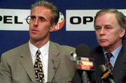 New Republic of Ireland Manager Mick McCarthy with FAI President Louis Kilcoyne at a Press Conference at Lansdowne Rd. Soccer. Picture credit; Ray McManus/SPORTSFILE