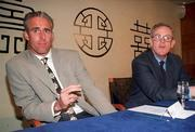 Rep of Ireland manager Mick McCarthy explains his case at a press conference in Dublin Airport yesterday morning (Fri. 12/4/96). Pictured with him is Frank Dunlop (former Government Press Officer). Soccer. Photograph: David Maher / Sportsfile.