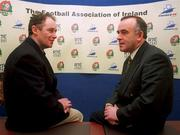 Brian Kerr(left,former St.Patrick's Athletic manager) pictured  with F.A.I  President Pat Quigley at Merrion square yesterday after the announcement  of Brian Kerr's appointment as Full-Time Manager of the Republic Of Ireland U.16,and U.18 Teams. Soccer. Pic David Maher,SPORTSFILE.
