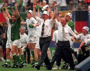 Former Rep of Ireland Manager Jack Charlton celebrates after victory over Italy in Giants Stadium,  New York, during the 1994 World Cup Finals. Soccer. Pic Ray McManus/SPORTSFILE.