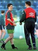 Rep of Ireland's Andy Townsend shares a joke with Alan Kelly during a training session in the Controceni Stadium in Bucharest, Romania. Soccer. Photograph: Ray McManus SPORTSFILE.