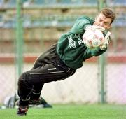 Rep of Ireland 'keeper Alan Kelly pictured during an Irish squad training session in the Steuea Stadium, Bucharest. 29/4/97. Soccer. Photograph: Ray McManus SPORTSFILE.