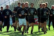 Rep of Ireland manager Mick McCarthy leads his squad in a warm up during a training session in the Controceni Stadium in Bucharest, Romania. Soccer. Photograph: Ray McManus SPORTSFILE.