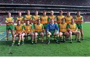 29 September 1996; The Meath team, back row, left to right, Trevor Giles, Graham Geraghty, John McDermott, Jimmy McGuinness, Barry Callaghan, Martin O'Connell, Colm Brady, Tommy Dowd, Brendan Reilly, front row, left to right, Paddy Reynolds, Mark O'Reilly, Colm Coyle, Colm Martin, Darren Fay, and Enda McManus. Meath v Mayo, All Ireland Football Final replay, Croke Park, Dublin. Picture credit; Ray McManus / SPORTSFILE