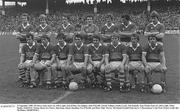 21 September 1980; The Kerry team, back row, left to right, Jack O'Shea, Pat Spillane, John O'Keeffe, Charlie Nelligan, Paudie Lynch, Tim Kennelly, Seán Walsh, front row, left to right, Mikey Sheehy, Páidí Ó Sé, Tommy Doyle, Ger Power, John Egan, Jimmy Deenihan, Ger O'Keeffe, and Denis 'Ogie' Moran. All Ireland Football Final, Kerry V Roscommon, Croke Park. Picture credit: Ray McManus / SPORTSFILE