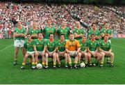 18 August 1996; The Meath team, back row, left to right, Trevor Giles, Graham Geraghty, John McDermott, Jimmy McGuinness, Martin O'Connell, Brendan Reilly, Barry Callaghan, front row, left to right, Paddy Reynolds, Evan Kelly, Colm Coyle, Mark O'Reilly, Conor Martin, Tommy Dowd, Darren Fay, Enda McManus. All-Ireland Football Semi-Final, Meath v Tyrone, Croke Park, Dublin. Picture credit; Brendan Moran / SPORTSFILE
