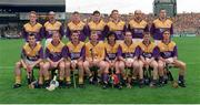 1 September 1996; The Wexford hurling team, back row, left to right, Rod Guiney, George O'Connor, Gary Laffan, Adrian Fenlon, Larry Murphy, John O'Connor, Ger Cushe, front row, left to right, Liam Dunne, Tom Dempsey, Martin Storey, Damien Fitzhenry, Seán Flood, Éamonn Scallan, Colm Kehoe, and Rory McCarthy. All Ireland Hurling Final, Wexford v Limerick, Croke Park, Dublin. Picture credit; Ray McManus / SPORTSFILE