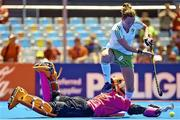 18 June 2015; Nicola Evans, Ireland, in action against Dongxiao Li, China, during the penalty shoot out. Women's World League Round 3, Ireland v China. Valencia, Spain. Picture credit: David Aliaga / SPORTSFILE