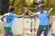 18 June 2015; Anna O'Flanagan and Nicola Evans, Ireland, celebrate a goal for their side. Women's World League Round 3, Ireland v China. Valencia, Spain. Picture credit: David Aliaga / SPORTSFILE