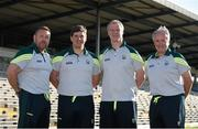 18 June 2015; Kerry management team, from left, Cian O'Neill, trainer, Eamonn Fitzmaurice, manager, Diarmuid Murphy, selector, and Mikey Sheehy, selector. Football Squad Portraits 2015, Fitzgerald Stadium, Killarney, Co. Kerry. Picture credit: Brendan Moran / SPORTSFILE