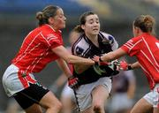 23 August 2008; Caitriona Cormican, Galway, in action against Juliet Murphy, left, and Sinead O'Reilly, Cork. TG4 All-Ireland Ladies Senior Football Championship Quarter-Final, Cork v Galway, Dr. Hyde Park, Roscommon. Picture credit: Paul Mohan / SPORTSFILE