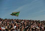14 June 2015; A supporter holds up a Mayo flag during the game against Galway. Connacht GAA Football Senior Championship Semi-Final, Galway v Mayo. Pearse Stadium, Galway. Picture credit: David Maher / SPORTSFILE