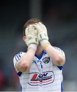 20 June 2015; Laois goalkeeper Graham Brody dejected after the final whistle. GAA Football All-Ireland Senior Championship, Round 1A, Laois v Antrim, O'Moore Park, Portlaoise, Co. Laois. Picture credit: Piaras Ó Mídheach / SPORTSFILE