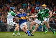 21 June 2015; Patrick Maher, Tipperary, is tackled by Barry Hennessy, left, and Richie McCarthy, Limerick. Munster GAA Hurling Senior Championship, Semi-Final, Limerick v Tipperary, Gaelic Grounds, Limerick. Picture credit: Brendan Moran / SPORTSFILE