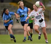 21 June 2015; Jennifer Barry, Cork, in action against Molly Lamb, left, and Sarah McCaffrey, Dublin. Aisling McGing U21 'A' Championship Final, Cork v Dublin, MacDonagh Park, Nenagh, Tipperary. Picture credit: Cody Glenn / SPORTSFILE