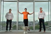 16 June 2015; Dublin football star Michael Darragh MacAuley with eircom GAA ambassadors Brendan Devenney, left, and David Brady in eircom's head office in Dublin to launch their online platform for supporters of this summer's GAA Football All-Ireland Senior Championship. The GAA hub, www.eircom.ie/gaa, will see the introduction of a new feature where fans can record and share their views on players throughout the championship via a new audio social network BOAST and be in with a chance to win tickets to the All-Ireland Senior Football Final. #shoutitout. eircom Head Office, HSQ, Dublin. Picture credit: Brendan Moran / SPORTSFILE