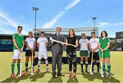 25 June 2015; SUBWAY® Stores franchisees all over Ireland will be encouraged to get behind their local school hockey teams this coming season as the brand becomes the title sponsor of the SUBWAY® All Ireland School boys and School girls championships. In addition, SUBWAY® Stores are also new secondary kit sponsors of the U18 Irish International boys and girls teams as a partner of Hockey Ireland. Pictured at the announcement are, from left to right, Ziggy Agnew, Lena Tice, Darragh Walsh, Mike Heskin, CEO, Hockey Ireland, Marie Claire Caldwell, SUBWAY®, Ellen Curran, John Mullins and Emma Canning. UCD, Dublin. Picture credit: Cody Glenn / SPORTSFILE