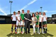 25 June 2015; SUBWAY® Stores franchisees all over Ireland will be encouraged to get behind their local school hockey teams this coming season as the brand becomes the title sponsor of the SUBWAY® All Ireland School boys and School girls championships. In addition, SUBWAY® Stores are also new secondary kit sponsors of the U18 Irish International boys and girls teams as a partner of Hockey Ireland. Pictured at the announcement are, from left to right, Lena Tice, Darragh Walsh, Ziggy Agnew, Mike Heskin, CEO, Hockey Ireland, Nisha Maguire, SUBWAY Franchisee, Emma Canning, John Mullins and Ellen Curran. UCD, Dublin. Picture credit: Cody Glenn / SPORTSFILE