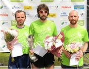 27 June 2015; Top three men finishers, from left to right, Gary Thornton, Mick Clohisey and Kevin Maunsell. SSE Airtricity 5 mile race. Phoenix Park, Dublin.  Picture credit: Seb Daly / SPORTSFILE