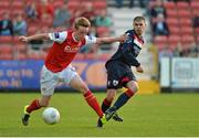 26 June 2015; Chris Forrester, St Patrick's Athletic, in action against Connor Powell, Longford Town. SSE Airtricity League Premier Division, St Patrick's Athletic v Longford Town, Richmond Park, Dublin. Picture credit: Sam Barnes / SPORTSFILE