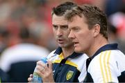 27 June 2015; Donegal manager Rory Gallagher, speaks with selector Jack Cooney. Ulster GAA Football Senior Championship, Semi-Final, Derry v Donegal. St Tiernach's Park, Clones, Co. Monaghan. Picture credit: Oliver McVeigh / SPORTSFILE