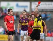 27 June 2015; Conor Garvey, Down, is sent off by referee Cormac Reilly. GAA Football All-Ireland Senior Championship, Round 1B, Wexford v Down. Innovate Wexford Park, Wexford. Picture credit: Matt Browne / SPORTSFILE