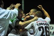 11 September 2008; Andy Myler, hidden, Bray Wanderers, celebrates with team-mates and supporters after scoring his side's first goal.  FAI Ford Cup Quarter-Final, Galway United v Bray Wanderers, Terryland Park, Galway. Picture credit: David Maher / SPORTSFILE