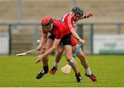 28 June 2015; John McCloskey, Derry, in action against Ryan McCusker, Down. Ulster GAA Hurling Senior Championship, Semi-Final, Derry v Down. Owenbeg, Derry. Picture credit: Seb Daly / SPORTSFILE