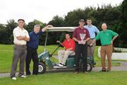 13 September 2008; Six winning GAA Clubs from Ulster, Munster, Leinster, Connacht, Chicago and New York battled it out for a chance to win an All-Ireland trophy at the 2008 FBD GAA Golf Challenge All-Ireland final which was held at Faithlegg Hotel and Golf Club in Waterford over the weekend. Pictured are the competing captains, from left, Kieran Keaveney, Roscommon GAA New York, JJ O'Reilly, Cavan Gaels, Brendan Landers, Lismore, Co. Waterford, Paddy Grelish, Wolfe Tones Chicago, Martin Cahill, St. Brigids, Dublin, and Eamonn Blake, Miltown, Co. Galway. Faithlegg House Hotel, Faithlegg, Co. Waterford. Picture credit: Pat Murphy / SPORTSFILE  *** Local Caption ***