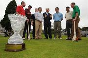 13 September 2008; Six winning GAA Clubs from Ulster, Munster, Leinster, Connacht, Chicago and New York battled it out for a chance to win an All-Ireland trophy at the 2008 FBD GAA Golf Challenge All-Ireland final which was held at Faithlegg Hotel and Golf Club in Waterford over the weekend. The FBD Insurance All-Ireland Golf Challenge trophy stands in front of the competing captains, from left, Brendan Landers, Lismore, Co. Waterford, Paddy Grelish, Wolfe Tones Chicago, JJ O'Reilly, Cavan Gaels, Martin Cahill, St. Brigids, Dublin, Kieran Keaveney, Roscommon GAA New York, and Eamonn Blake, Miltown, Co. Galway, with Sean Kelly, Patron of the FBD Insurance All-Ireland Golf Challenge, and Adrian Taheny, FBD Insurance, Executive Director Marketing and Sales. Faithlegg House Hotel, Faithlegg, Co. Waterford. Picture credit: Pat Murphy / SPORTSFILE  *** Local Caption ***