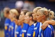 6 September 2008; The Iceland team stand together during the national anthems. Senior Women's Basketball European Championship - Division B - Group A - Ireland v Iceland, National Basketball Arena, Tallaght, Dublin. Picture credit: Stephen McCarthy / SPORTSFILE