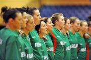 6 September 2008; Lindsay Peat, Ireland, fifth from left, stands with team-mate's during the national anthems ahead of the game. Senior Women's Basketball European Championship - Division B - Group A - Ireland v Iceland, National Basketball Arena, Tallaght, Dublin. Picture credit: Stephen McCarthy / SPORTSFILE