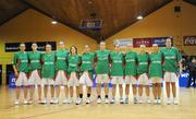 6 September 2008; The Ireland squad stand together during the national anthems. Senior Women's Basketball European Championship - Division B - Group A - Ireland v Iceland, National Basketball Arena, Tallaght, Dublin. Picture credit: Stephen McCarthy / SPORTSFILE