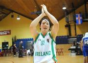 6 September 2008; Lindsay Peat, Ireland, celebrates her side's victory over Iceland. Senior Women's Basketball European Championship - Division B - Group A - Ireland v Iceland, National Basketball Arena, Tallaght, Dublin. Picture credit: Stephen McCarthy / SPORTSFILE