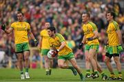 27 June 2015; Donegal players, Ryan McHugh, centre, Karl Lacey, left, Neil McGee and Eamonn McGee, right. Ulster GAA Football Senior Championship, Semi-Final, Derry v Donegal. St Tiernach's Park, Clones, Co. Monaghan. Picture credit: Ramsey Cardy / SPORTSFILE