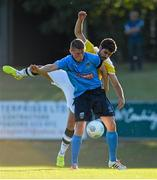 2 July 2015; Ryan Swan, UCD, in action against Joel De Almeida Pedro, F91 Dudelange. UEFA Europa League, First Qualifying Round, First Leg, UCD v F91 Dudelange, Belfield Bowl, UCD, Dublin. Picture credit: Brendan Moran / SPORTSFILE