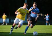 2 July 2015; Tom Schnell, F91 Dudelange, in action against Ryan Swan, UCD. UEFA Europa League, First Qualifying Round, First Leg, UCD v F91 Dudelange. Belfield Bowl, UCD, Dublin. Picture credit: Sam Barnes / SPORTSFILE