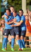 2 July 2015; UCD's Ryan Swan celebrates with team-mates after scoring his side's first goal. UEFA Europa League, First Qualifying Round, First Leg, UCD v F91 Dudelange. Belfield Bowl, UCD, Dublin. Picture credit: Sam Barnes / SPORTSFILE