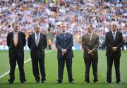 7 September 2008; Members of the 1983 All-Star Hurling team, from left, Frank Cummins, Kilkenny, John Fenton, Cork, Nicky English, Tipperary, Ger Fennelly, Kilkenny and Noel Lane, Galway are introduced to the crowd before the game. GAA Hurling All-Ireland Senior Championship Final, Kilkenny v Waterford, Croke Park, Dublin. Picture credit: Brendan Moran / SPORTSFILE