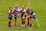 3 July 2015; Cuala players from left, Niamh O'Driscoll, 9, from Sallynoggin, Grace O'Sullivan, 9, from Glenageary, Aoife, 9 and Róisín Ní Drisceoil, 10, from Glenageary, and Amy Connor, 8, from Dún Laoghaire, are pictured at the very first 'Kellogg's Powering Play' workshop, a new fun game based nutritional module that is being piloted by Kellogg's and the GAA this summer at selected Cúl Camps to help promote the benefits of physical activity and eating well. Cuala GAA Club, Dalkey, Co. Dublin. Picture credit: Piaras Ó Mídheach / SPORTSFILE