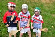 3 July 2015; Jamie Murphy, left, 7, Garbhan MacGearailt, 7, and Jack Kisney, right, 7, are pictured at the very first 'Kellogg's Powering Play' workshop, a new fun game based nutritional module that is being piloted by Kellogg's and the GAA this summer at selected Cúl Camps to help promote the benefits of physical activity and eating well. Cuala GAA Club, Dalkey, Co. Dublin. Picture credit: Cody Glenn / SPORTSFILE